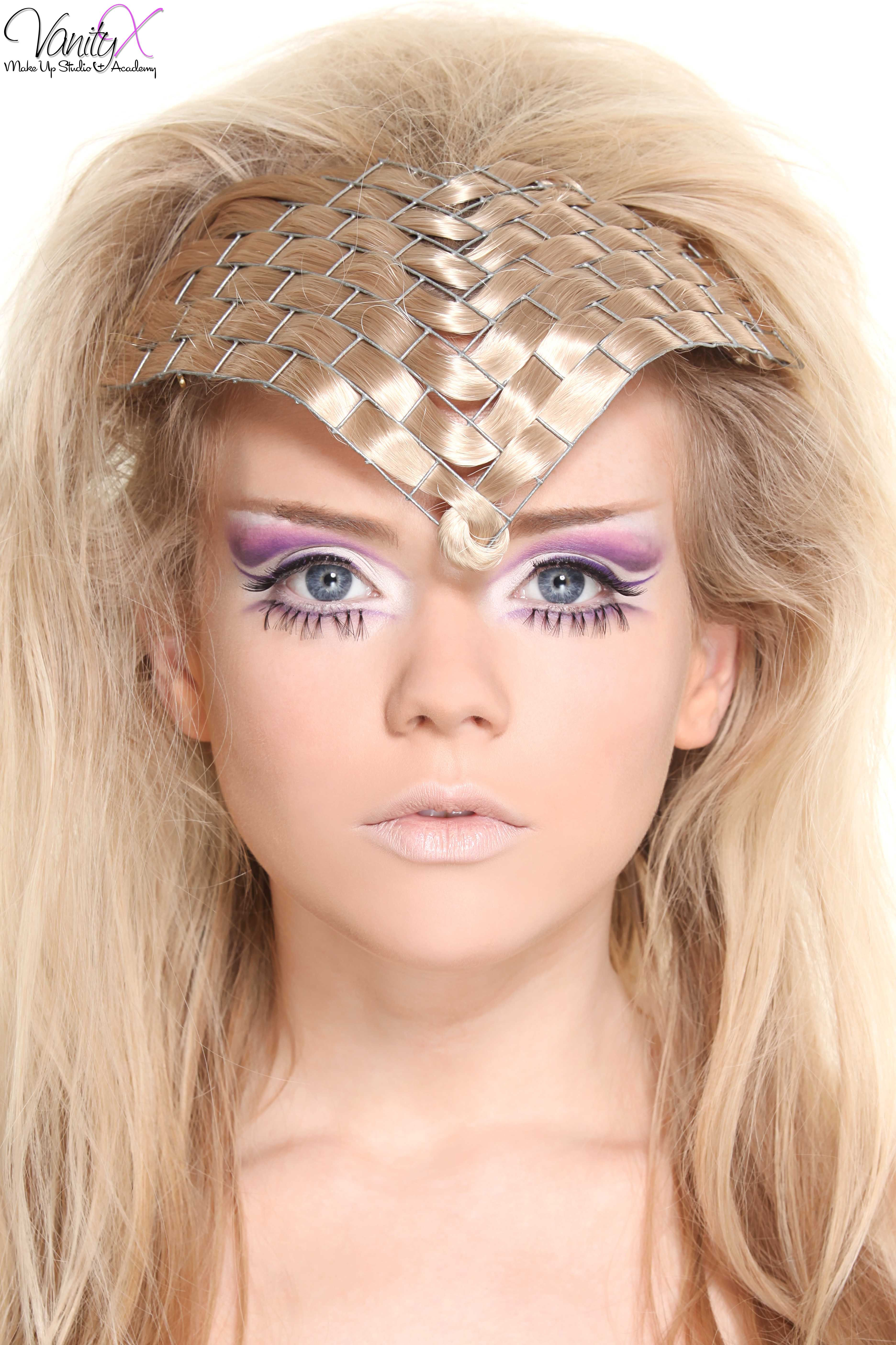 creative look by one of our students from our advanced makeup