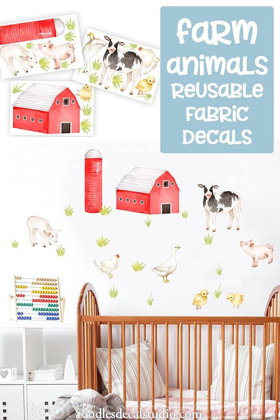Farm Animal wall decal/ Barn wall decal/ Cute Animal decals/ Farm nursery decor/ Nursery Farm Animal wall decor/ Cow wall decal/ Farm Decals | Pinterest ...  sc 1 st  Pinterest & Farm Animal wall decal/ Barn wall decal/ Cute Animal decals/ Farm ...