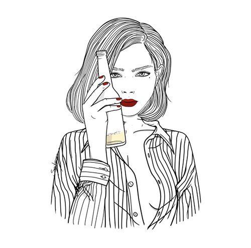 Výsledek obrázku pro tumblr girl drawing beer