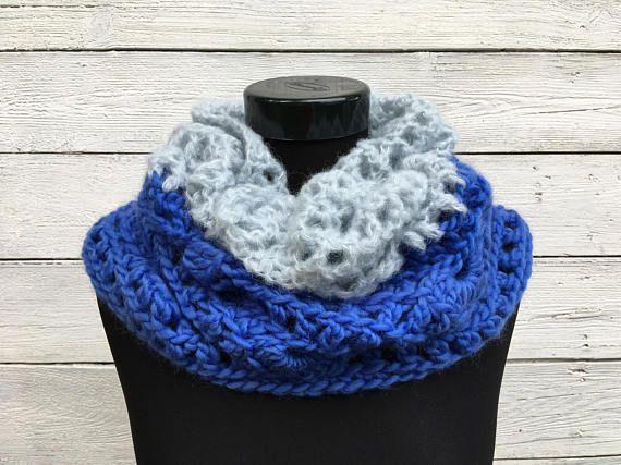 Crochet Scarf Pattern PDF, Wool Alpaca Cowl, Bulky Blue Infinity ...