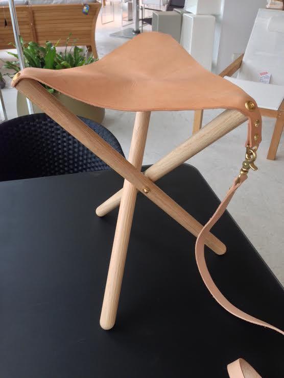 Folding Leather, Brass \ Wood Tripod Stool u2014 Handsome Eugene At - designer mobel liegestuhl curt bernhard