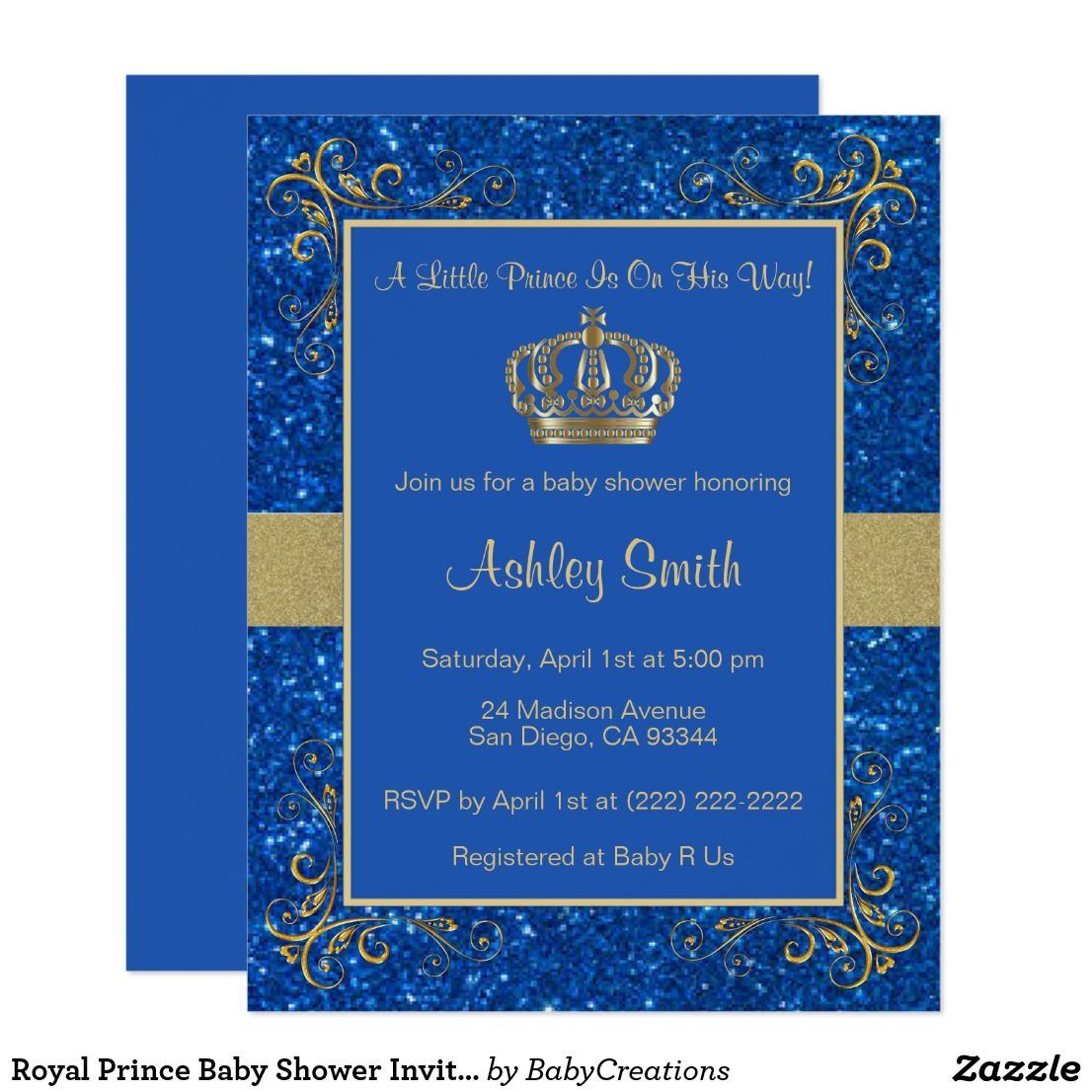 Royal Prince Baby Shower Invitation - Personalized Royal Blue ...