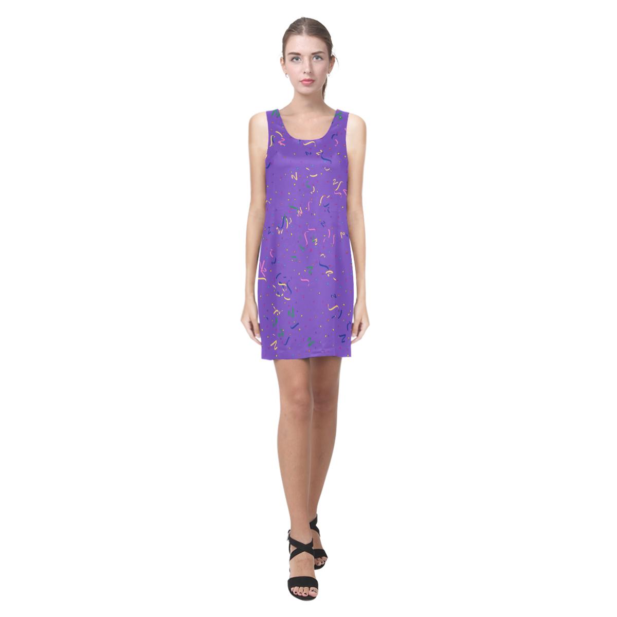 Confetti and Party Streamers Purple Helen Sleeveless Dress (Model D10) #Artsadd #Gravityx9