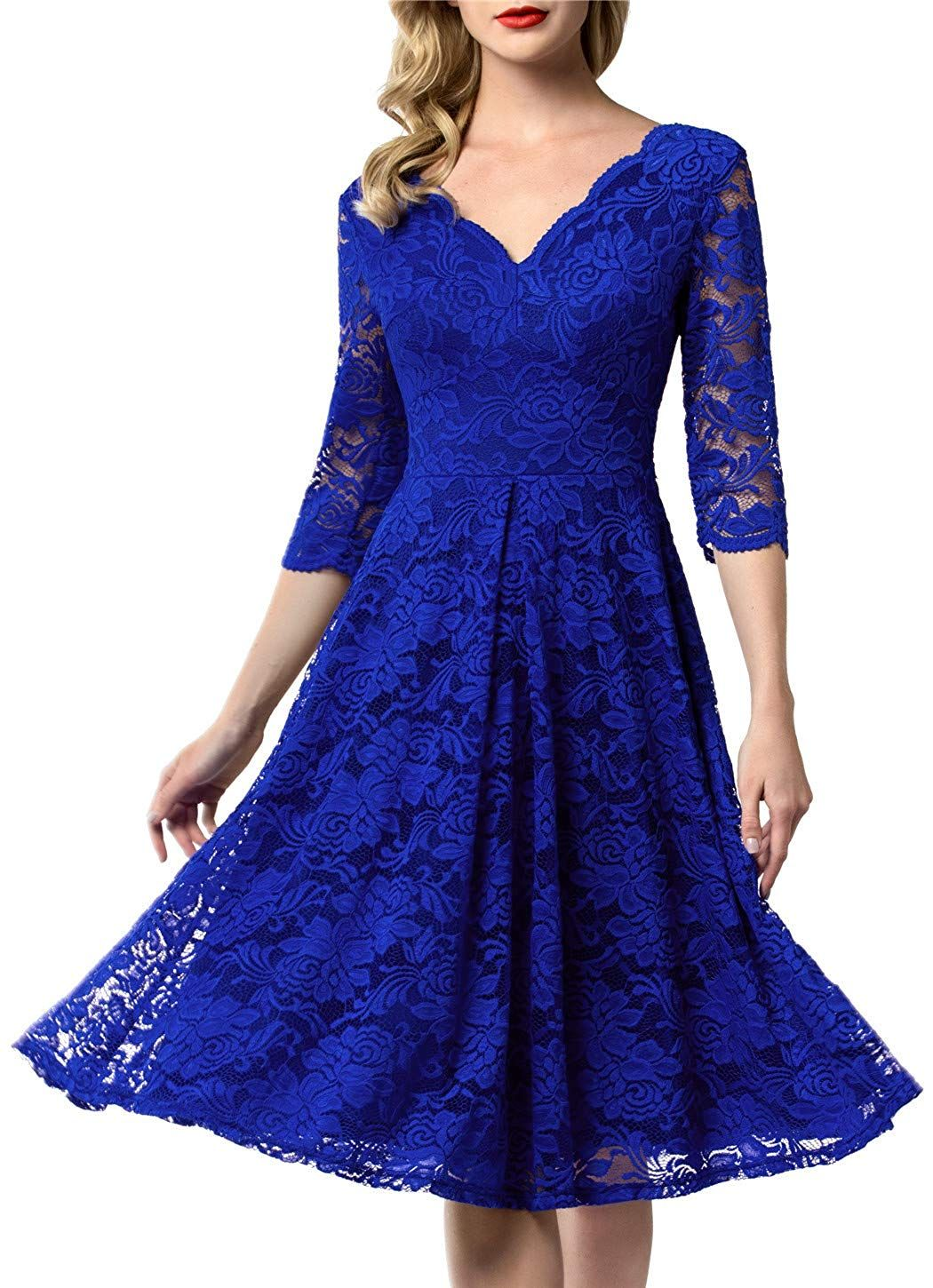 AONOUR Women's Vintage Floral Lace Bridesmaid Dress 34