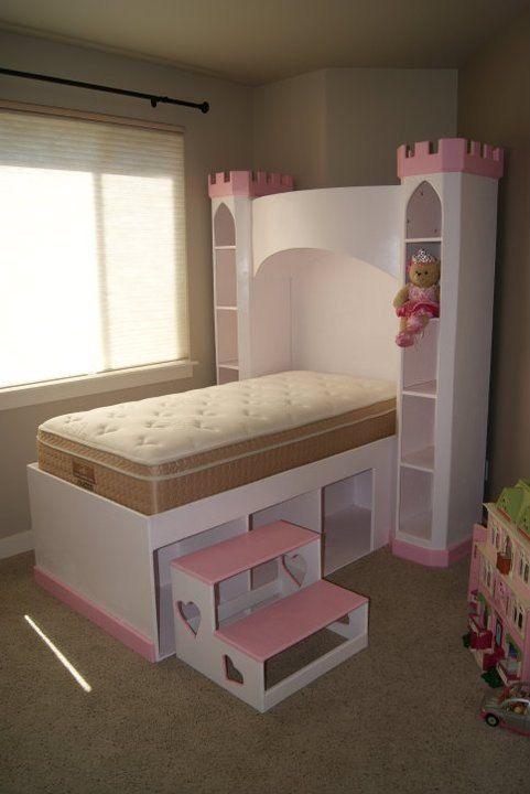 castle bed princess castle bookshelf headboard optional tall twin sized bed w - Bookshelf Bed Frame