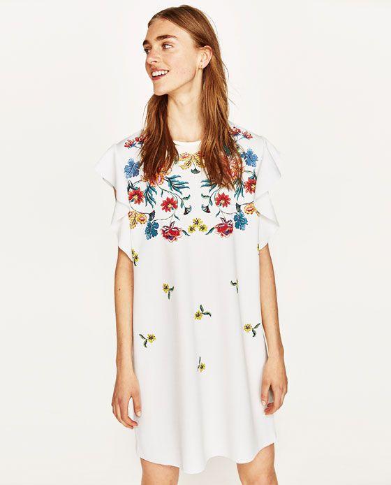 vestido estampado floral volantes zara