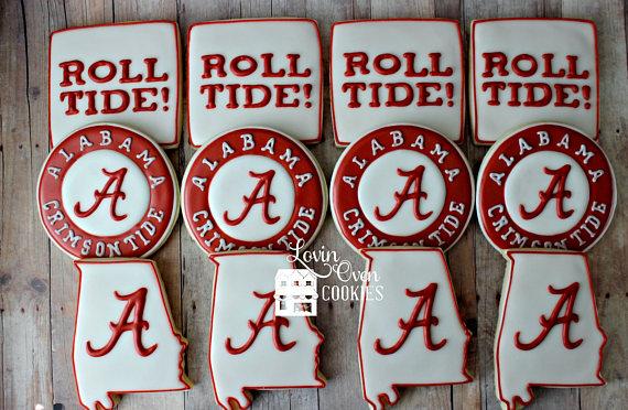 Alabama Crimson Tide Logo Decorated Sugar Cookies Sports Theme