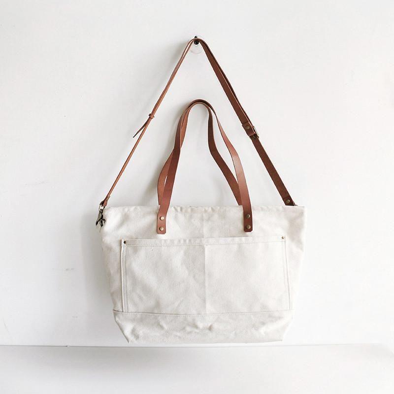 ec1a18a04023 Waxed Canvas Tote with Leather Messenger Bag Crossbody Bag School Bag  Handbag 14052