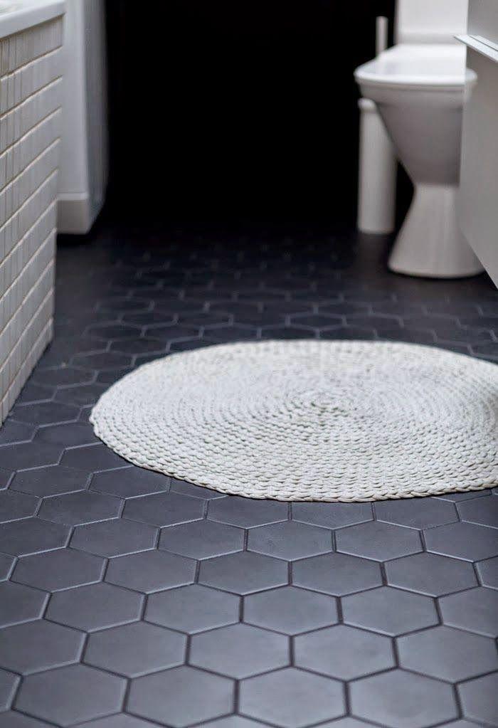 Large Black Hex Floor Tile With Black Grout Bathroom