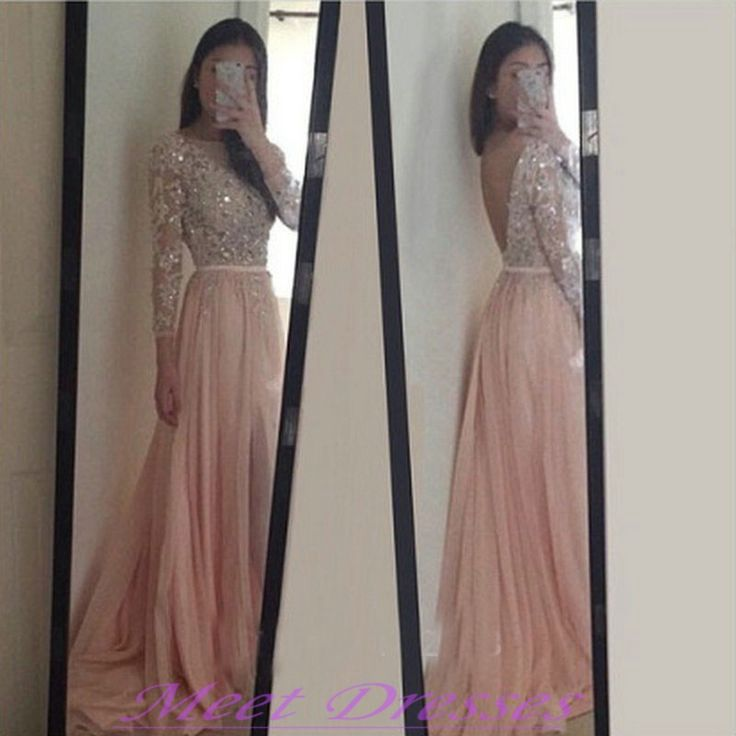 2016 Sparkle Blush Pink Prom Dresses Backless Long Sleeves Beadings ...