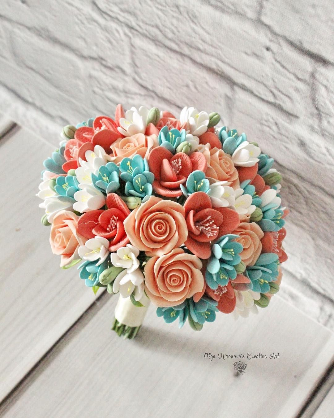 Bright and colorful coral peach teal bouquet for kim
