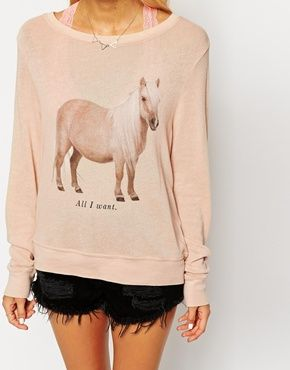 Enlarge Wildfox Baggy Beach Sweatshirt With Pony Print