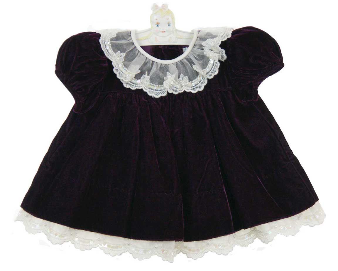 f7065a4c7 C. I. Castro purple velvet baby dress with lace trim
