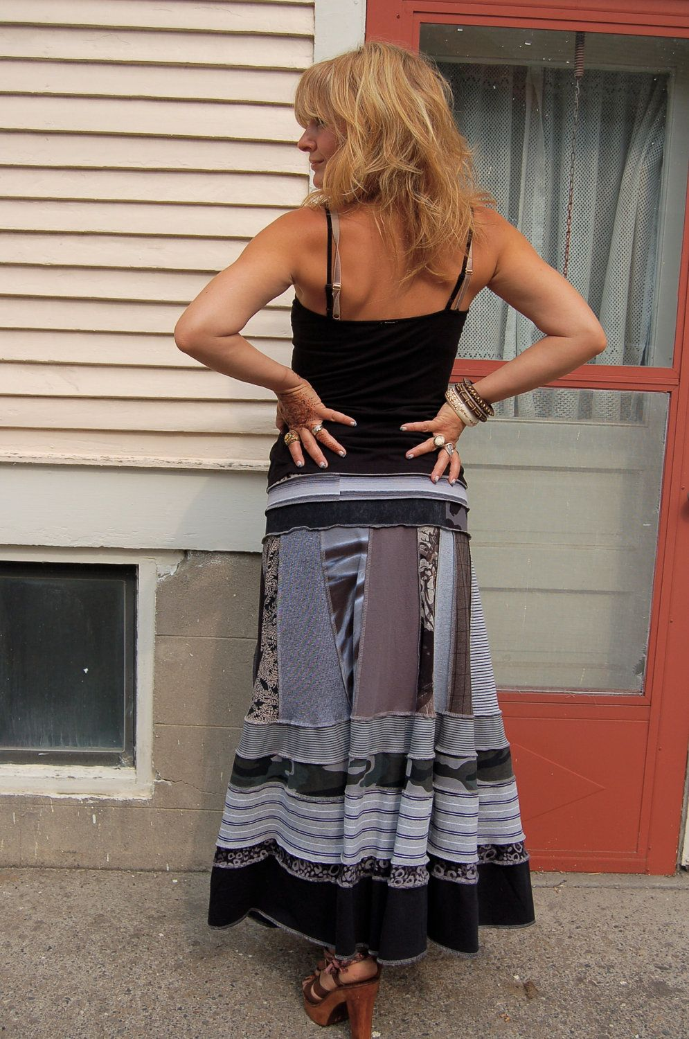 4c2e0a158 Eco long boho SKIRT, clothing, upcycled, patchwork, repurposed jersey,black  and gray mix, festival,size M/L, by Zasra
