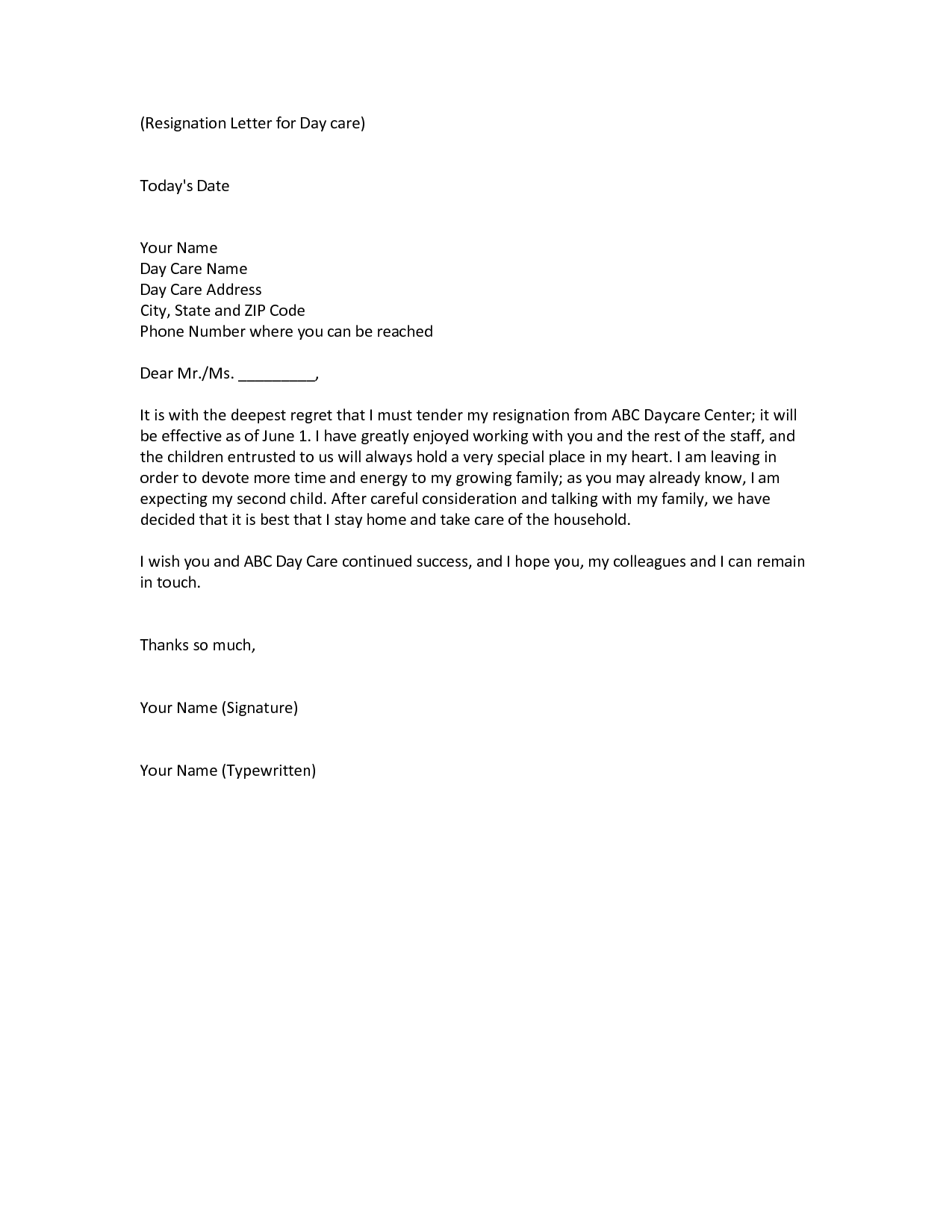 Resignation Letter To Take Care Of Child from i.pinimg.com