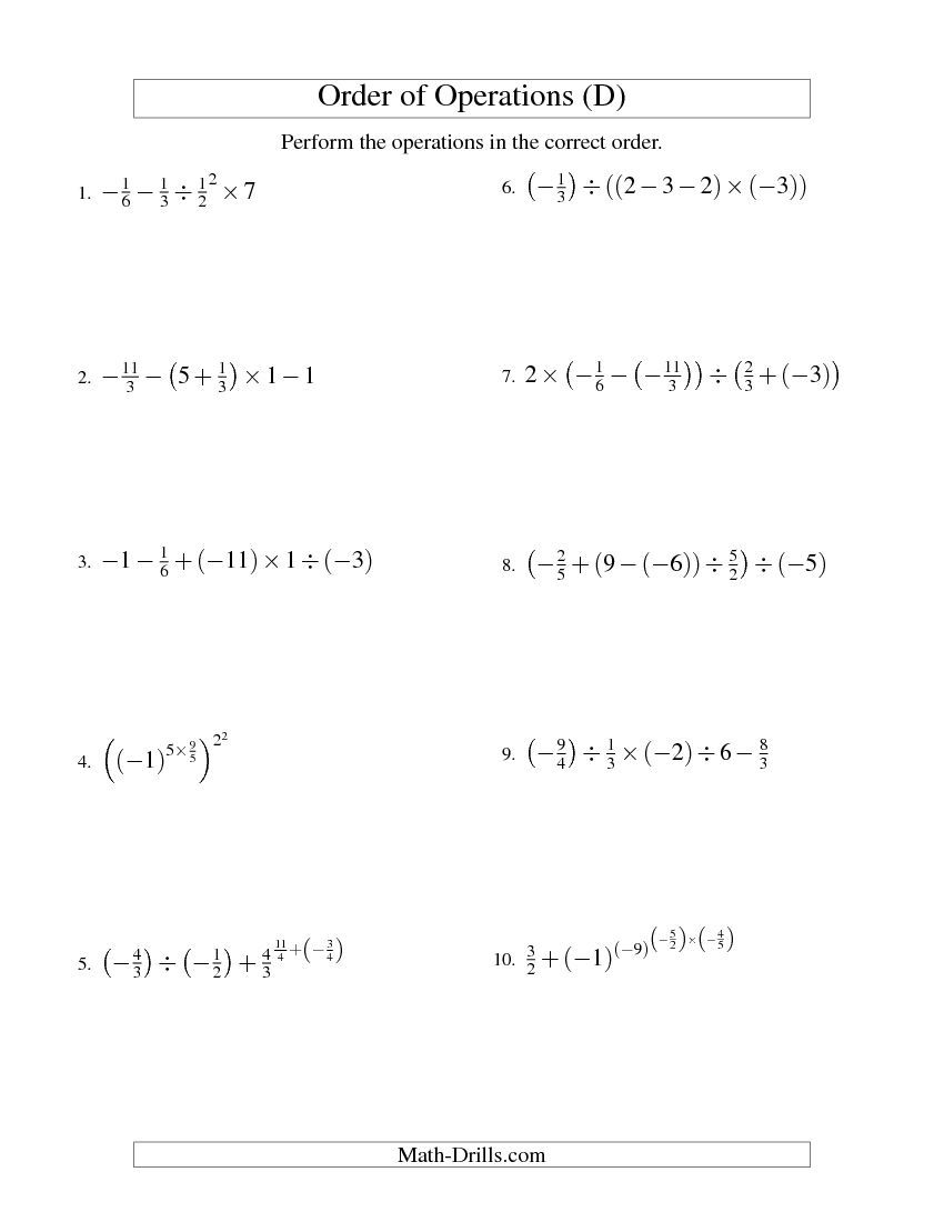 Order of Operations with Fractions -- Four Steps Including Negative ...