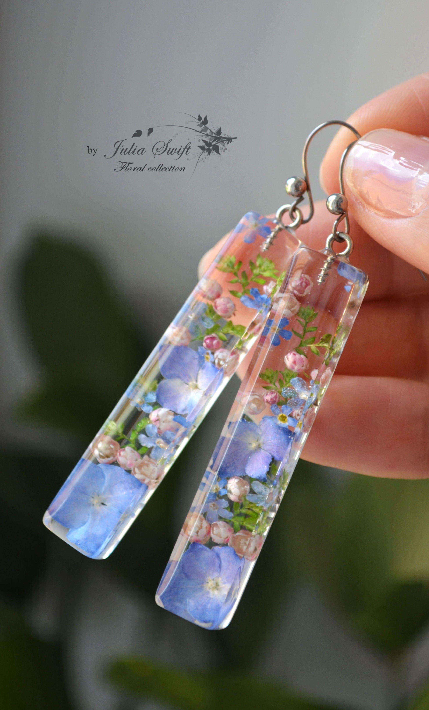 Photo of Forget-me-not earrings in resin. Hydrangea flowers earrings. Tiny flower earrings.