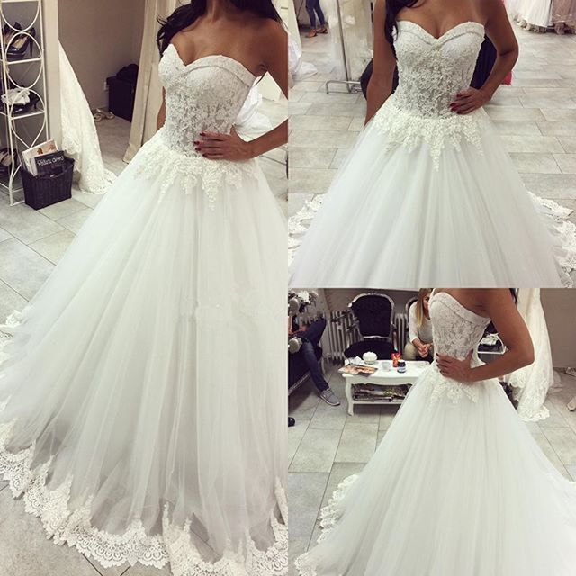 White Lace Wedding Dresses Arab Strapless Puffy Tulle Ball Gown ...