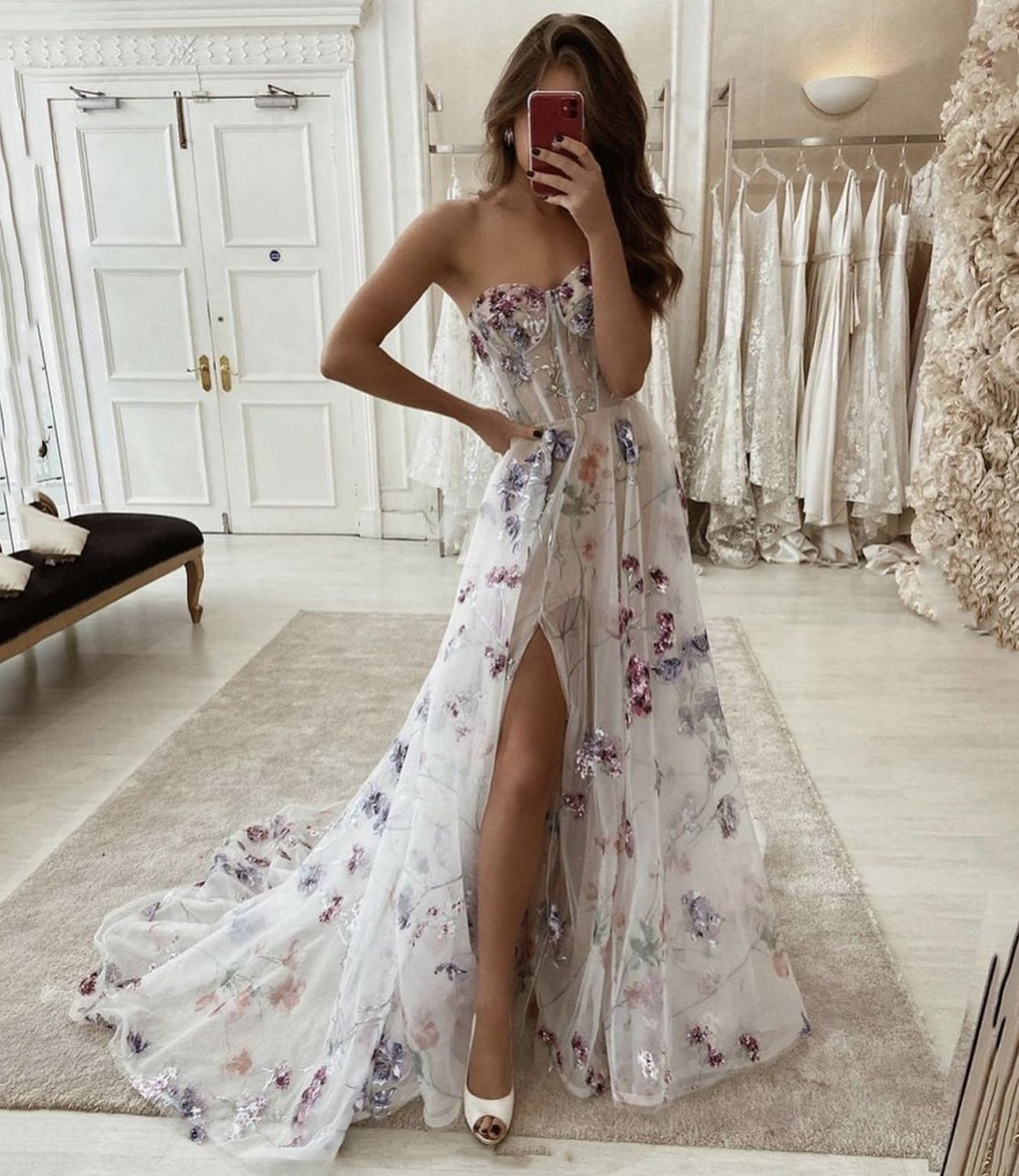 Stylish tulle lace long A line prom dress evening dress