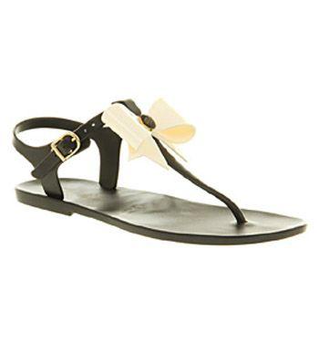 3f52d45937cf4b Womens Ted Baker Aster Bow Sandal Black Cream Pvc Sandals Shoes ...