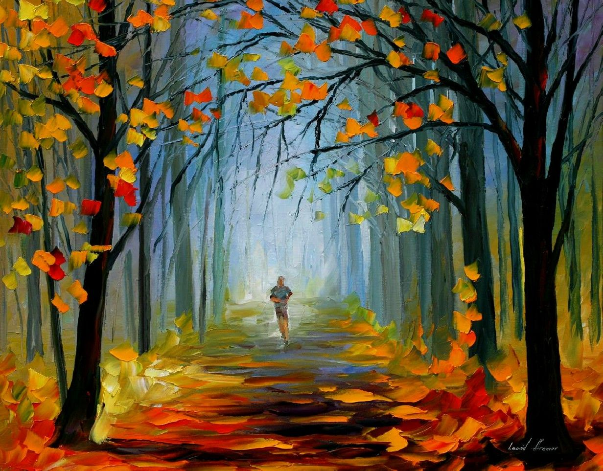 MORNING JOG - PALETTE KNIFE Oil Painting On Canvas By ...