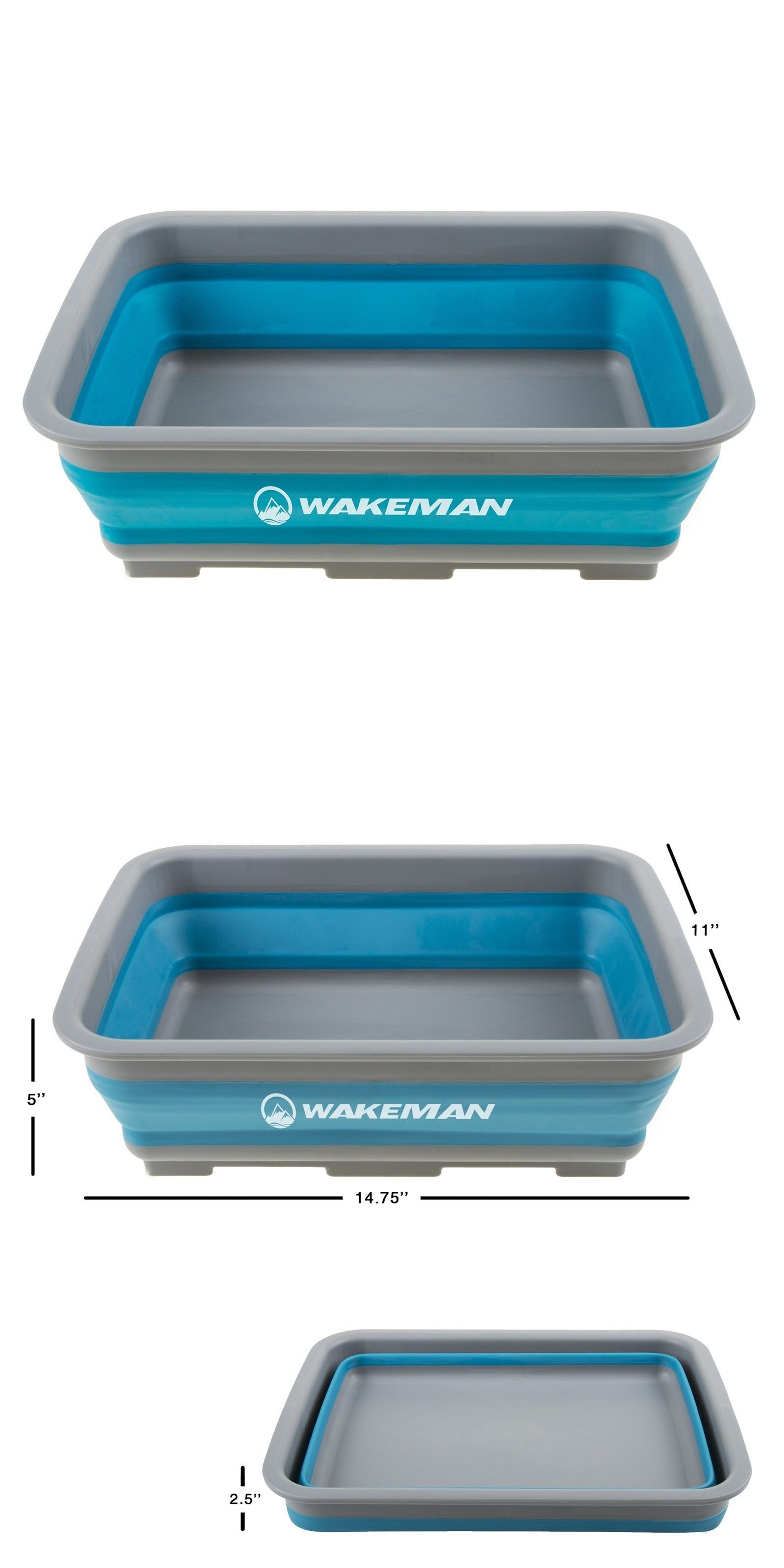 Wakeman Outdoors Collapsible Multiuse Wash Bin Portable Wash Basin//Dish Tub//Ice Bucket with 10 L Capacity for Camping