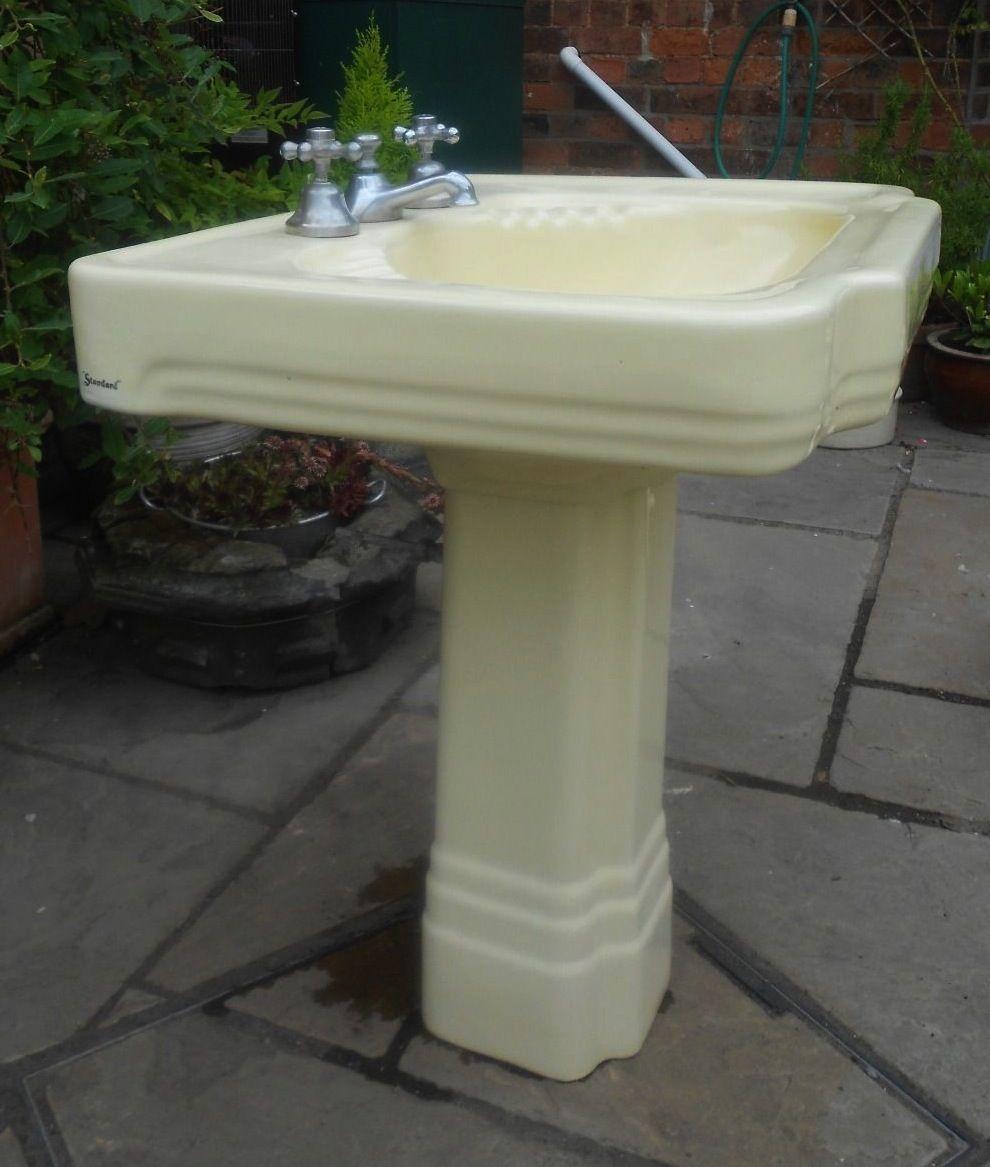 40 S Cream Pedestal Sink Vintage Sink Retro Bathrooms Pedestal Sink