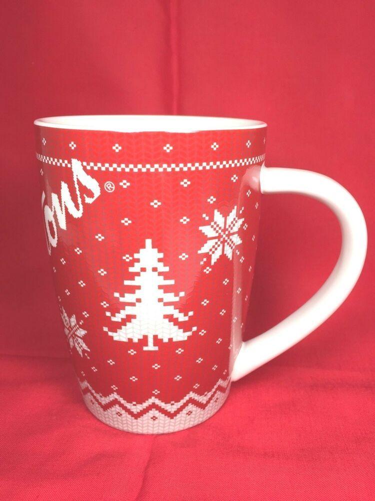 NEW NIB TIM HORTONS 2015 Ltd Edition Red White Snowflake Sweater Coffee MUG