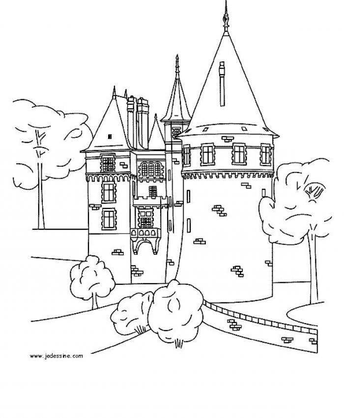 coloriage un château fort moyen âge pinterest châteaux