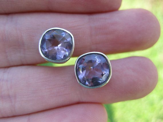 1970's 9x4mm ,&32 Vintage Amethyst and sterling silver stud by GourmetVintage