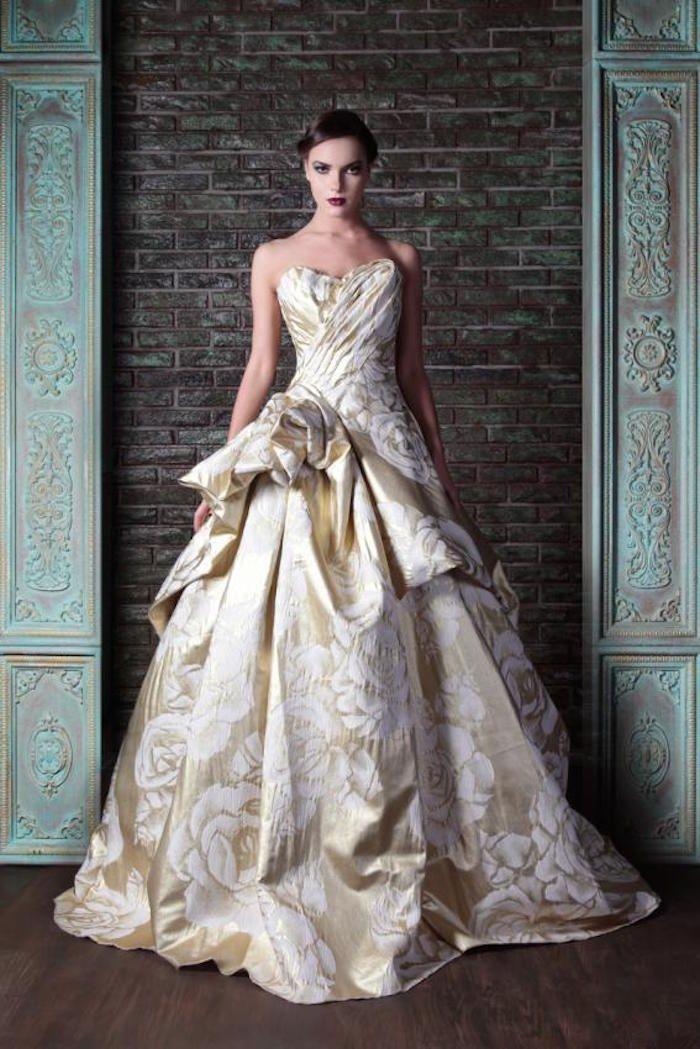 Gold and Ivory Printed Ballgown: Rami Kadi #coupon code nicesup123 gets 25% off at  www.Provestra.com www.Skinception.com and www.leadingedgehealth.com