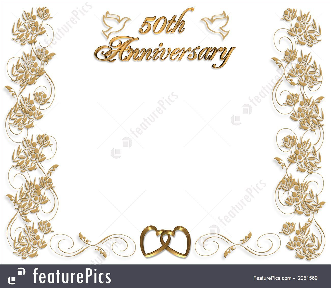 Wedding Invitation Template 3d Illustrated Design For 50th Wedding A 50th Wedding Anniversary Invitations Anniversary Invitations 50th Anniversary Invitations