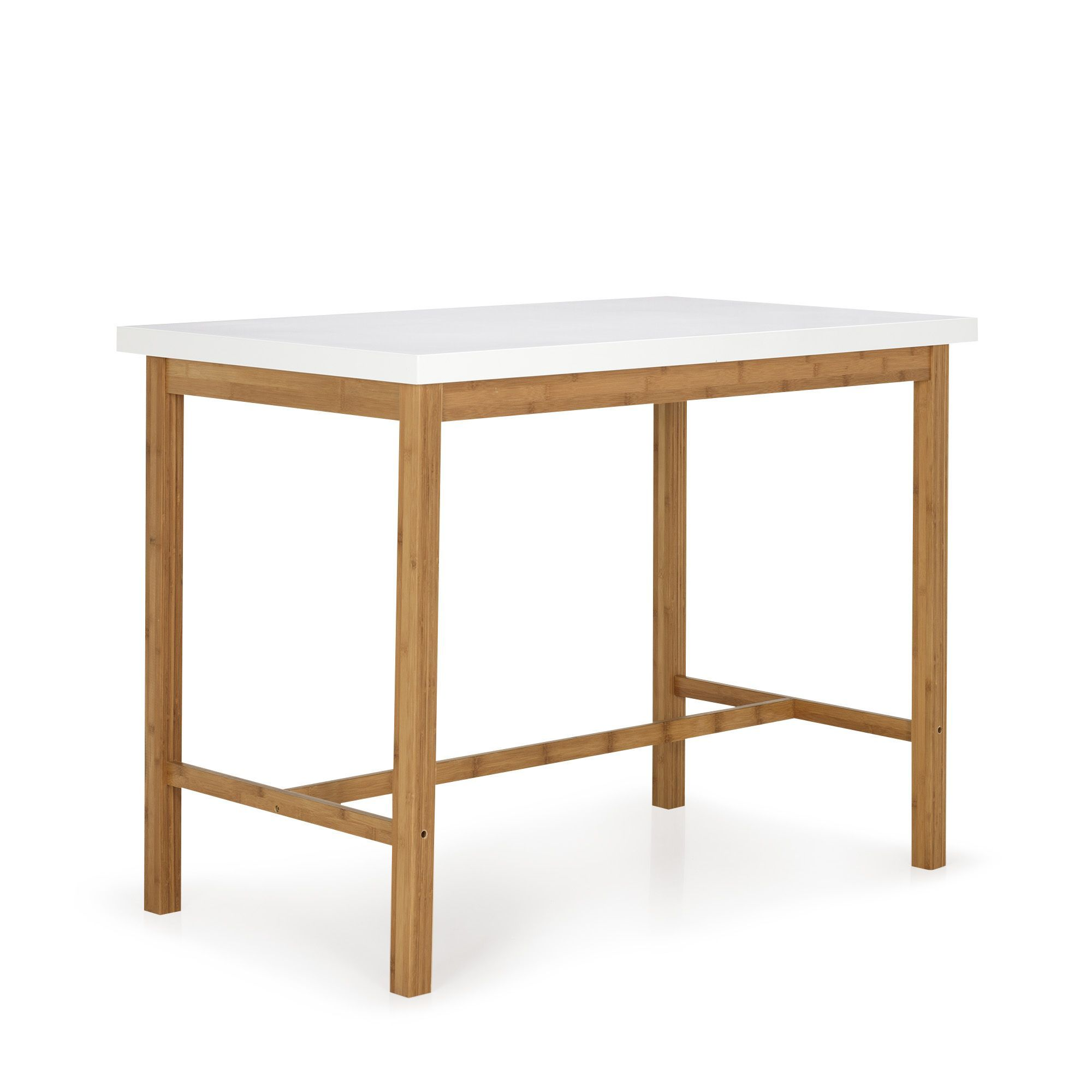 Bar Table Haute Table Haute Blanche Et Naturelle H90cm Blanc Naturel Buluh