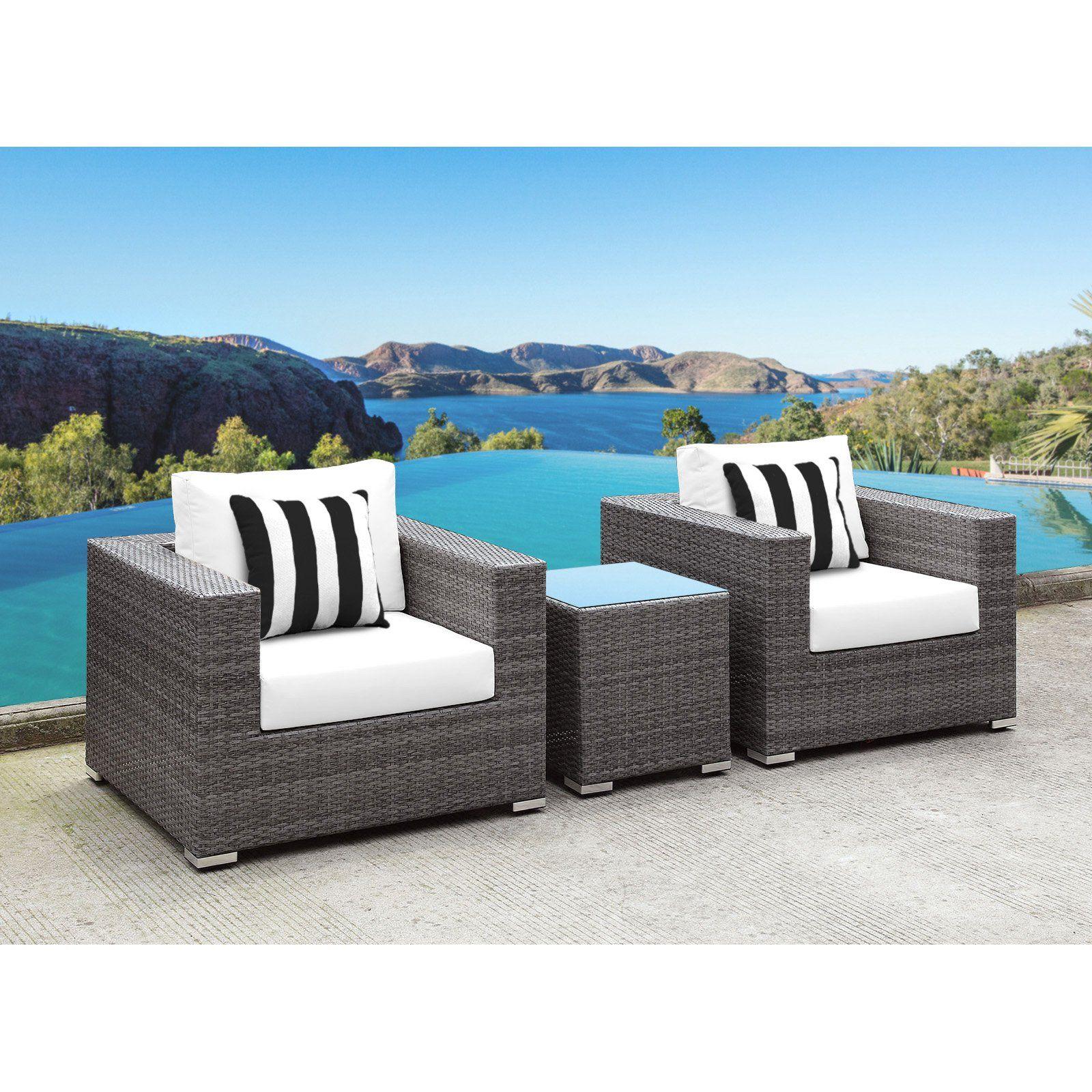 Solis lusso deep seated wicker 3 piece outdoor conversation set white black white