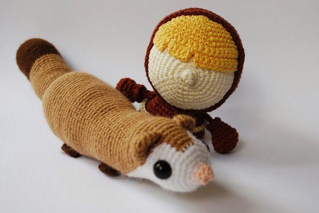 Amigurumi Que Es : Tiny thief ferret and barret amigurumi by crafteando que es