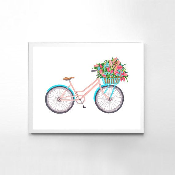 Floral Wall Decor Bicycle Print Watercolor Wall Art Painting