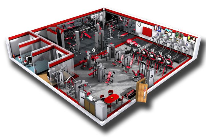 Commercial fitness facility design installation showcase for Gym floor design