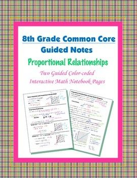 Math 8 Guided Interactive Math Notebook Pages: Proportional Relationships (1) #mathintherealworld