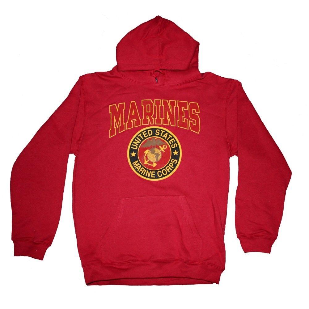 USMC Marines Red Raglan Hoodie