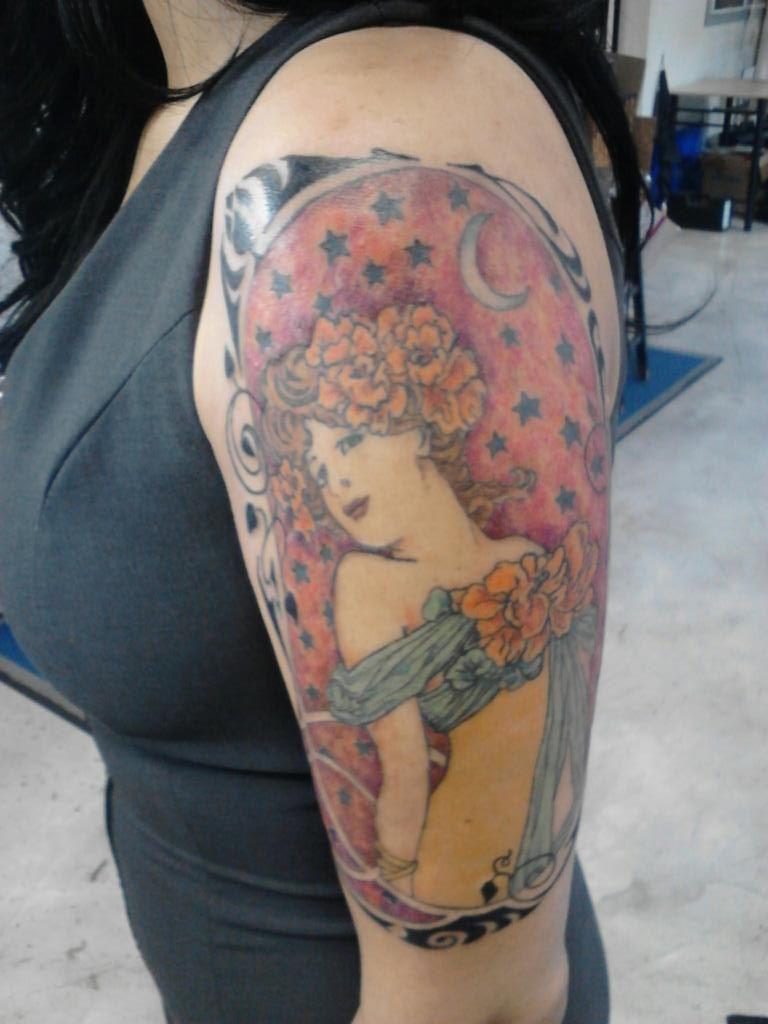 Alphonse mucha art nouveau tattoo by chuck berry iii