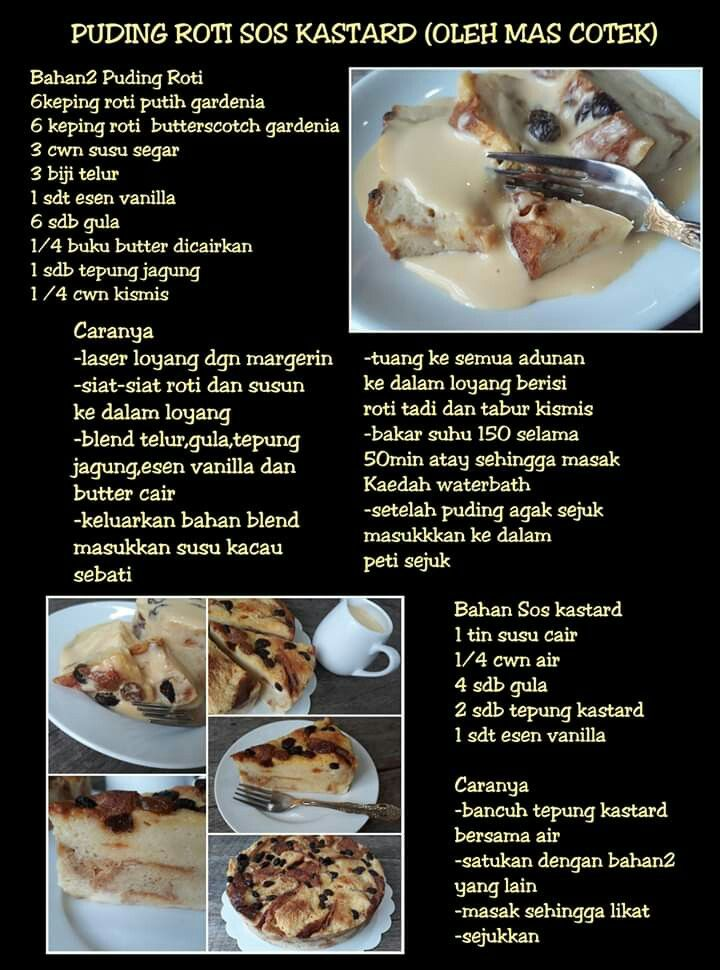 Puding Roti Sos Karemel Cooking Recipes Recipes Food