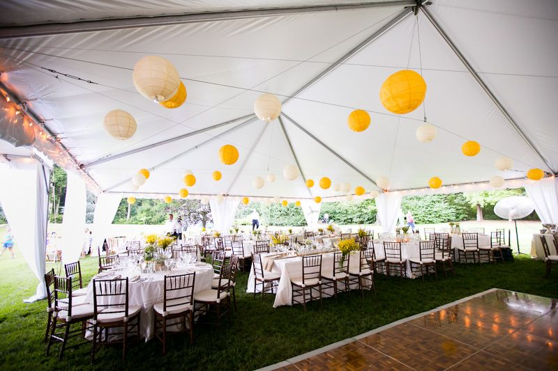 Paper lantern decorated white and yellow tent wedding paper white and yellow wedding tent lanterns rustic jewish wedding reception in maryland ilana dan junglespirit Gallery