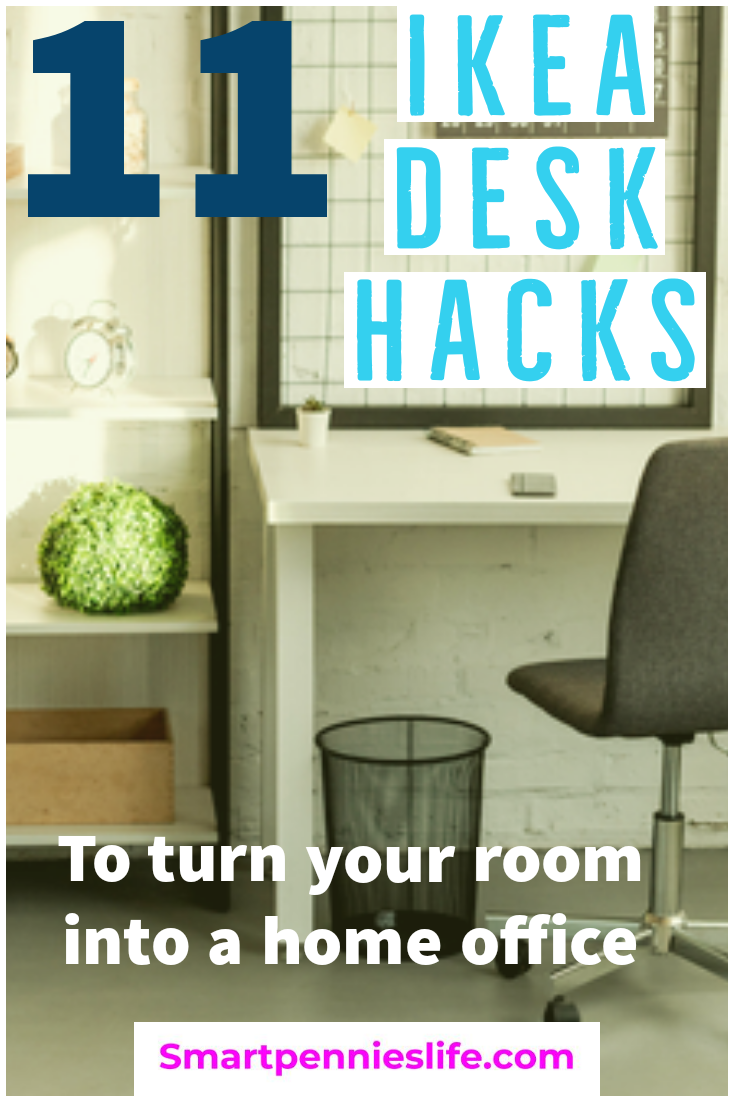Needing to transform your spare room into a home office on a budget? Try these DIY Ikea hacks for options for your desks to help turn your workspace into a home office. #ikeahack #desk #home office.