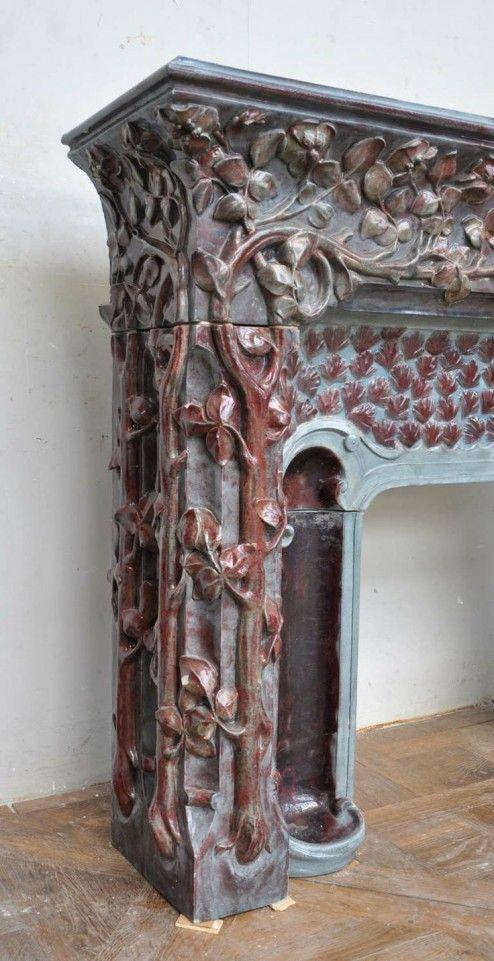 Unique Fireplace Mantels decoration, extraordinary modern antique art nouveau stoneware