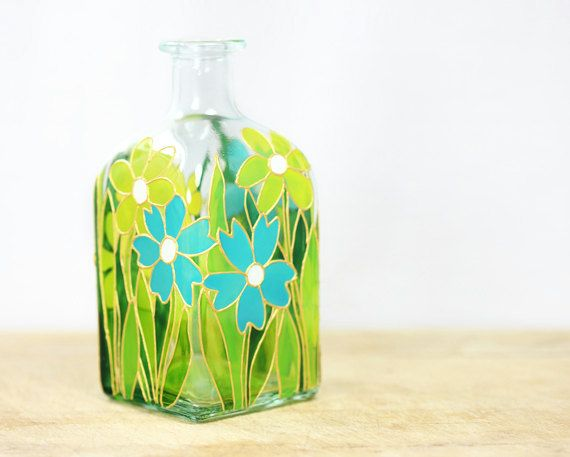 Hand Painted Glass Bottle Spring Summer Flower by SylwiaGlassArt, $35.00