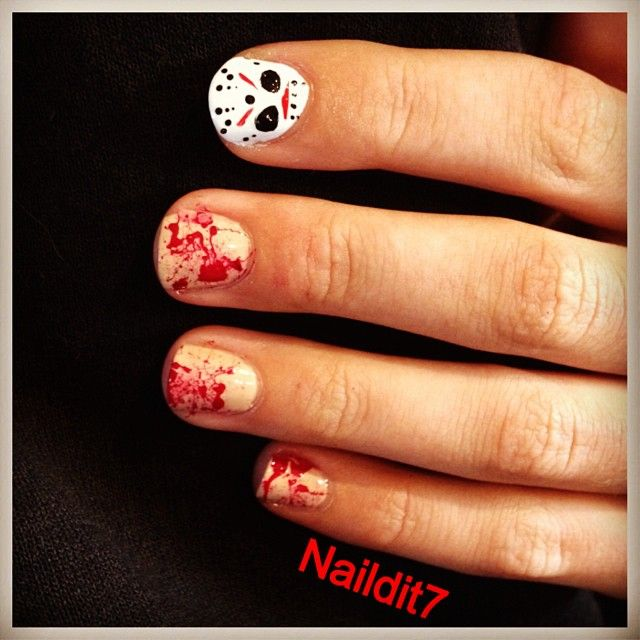 Jason Halloween Nails - Cult Cosmetics Magazine | Cult Nail Art by ...