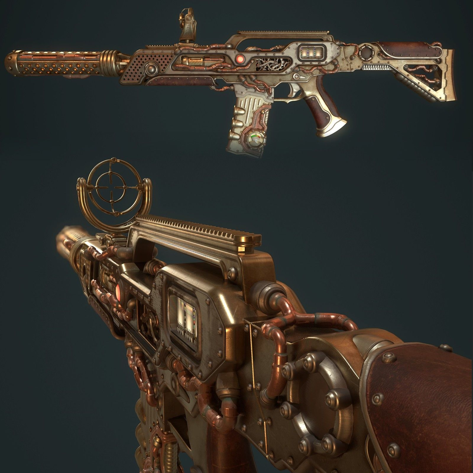 steampunkdieselpunk stylized model from real weapon for