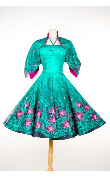 Deadly Dames- Sea Siren Dress in Turquoise with Pink Floral | Pinup Girl Clothing