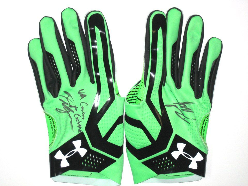 8770631b2e4 David Morgan Official 2016 NFL Combine Issued   Signed Neon Green   Black  4XL Under Armour Gloves