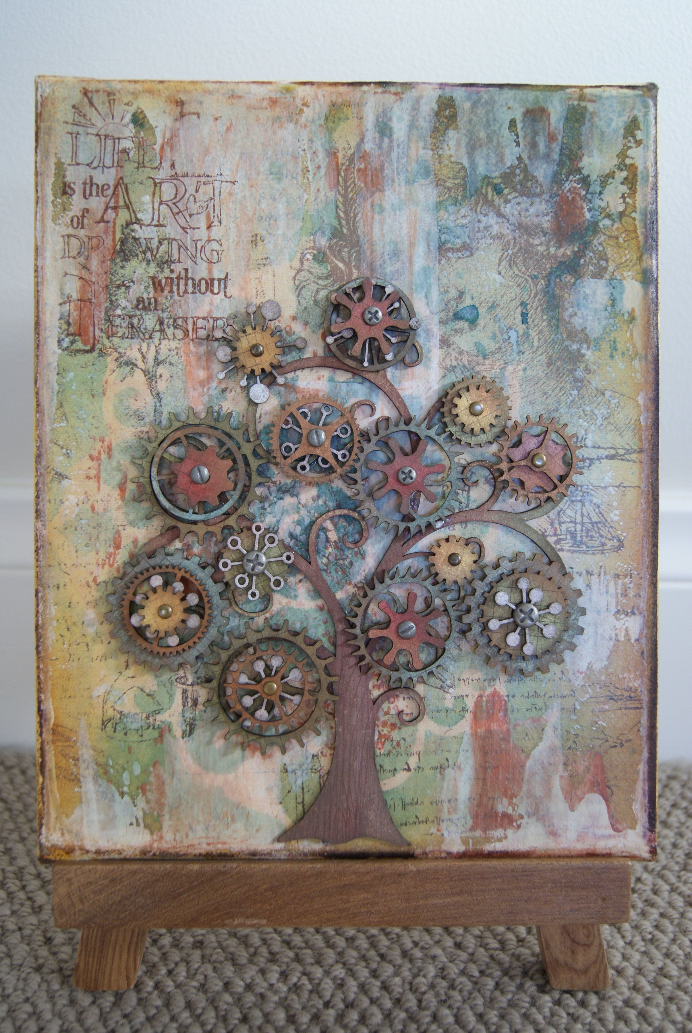 How to scrapbook on canvas - Cog Tree Canvas Scrapbook Com Beautifully Done